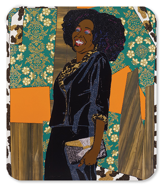 """Mama Bush (Your Love Keeps Lifting Me Higher)"", a collaged portrait of artist Mickalene Thomas's mother in black formal attire on patterned backgrounds"