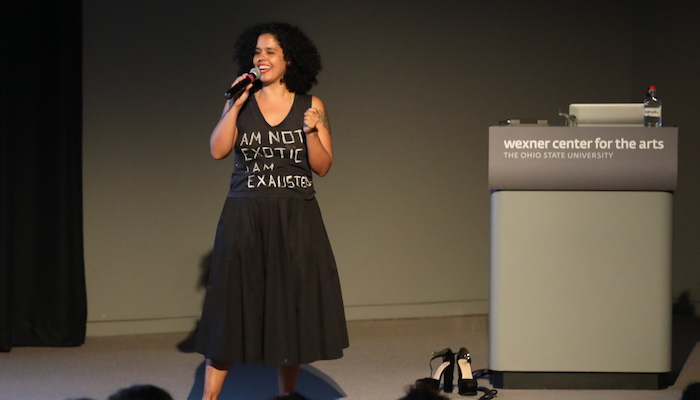Artist Awilda Rodriguez Lora speaking at the Wexner Center for the Arts