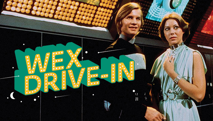 Still from Logan's Run with Wex Drive-In text overlay