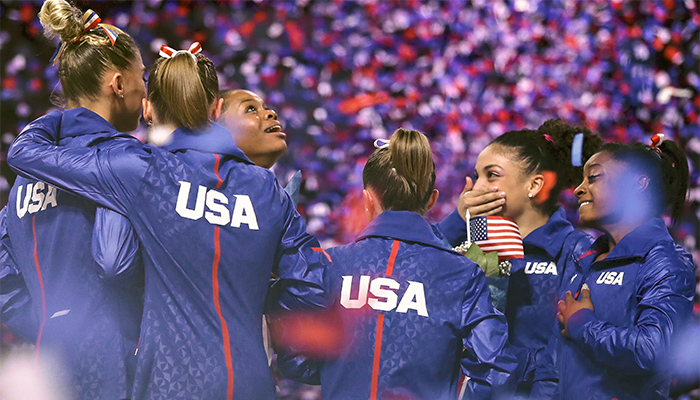 Members of the U.S. female gymnastics team