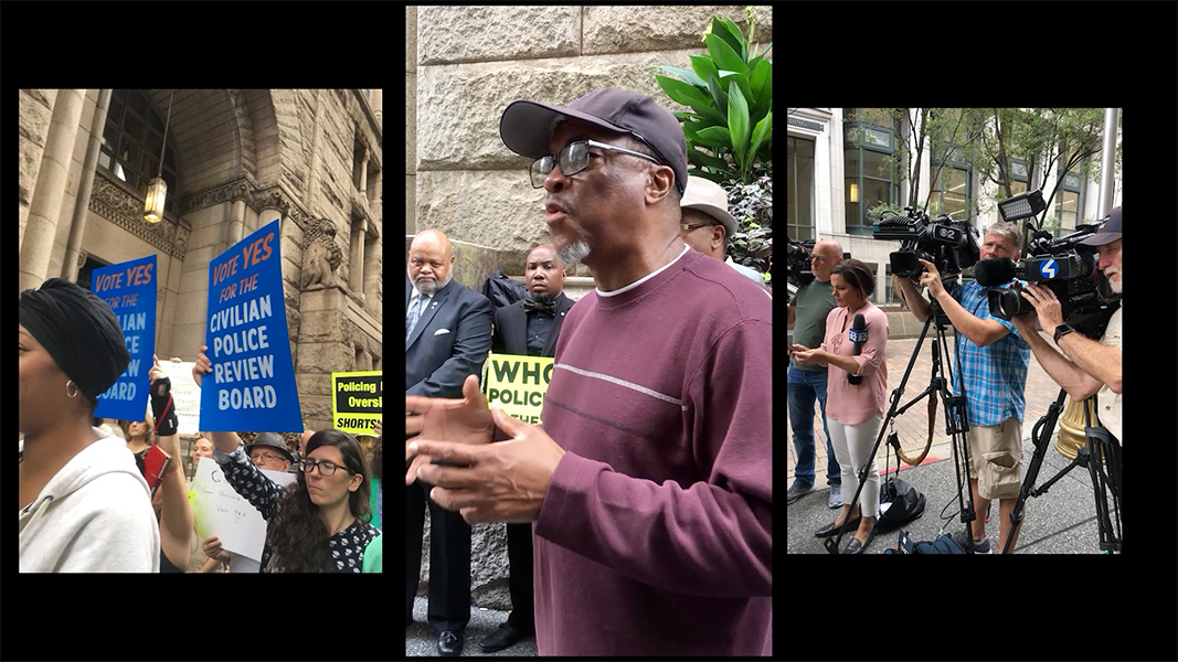 A triptych of images depicts a speaker at a rally against police reform.
