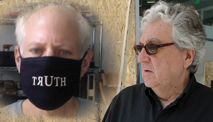 "Photo of Marshall Reese and Antoni Muntadas. Marshall is wearing a facial covering that reads ""truth"" and Antoni is in sunglasses"