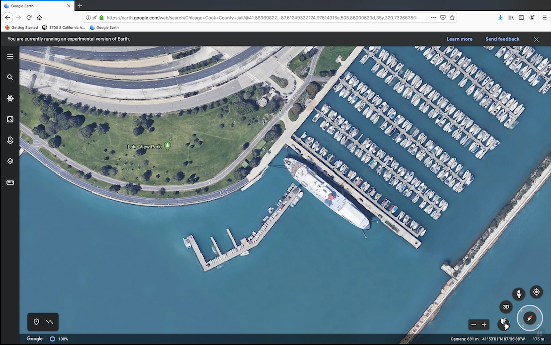 A Google Earth view of a park on the water in Lake View, Iowa