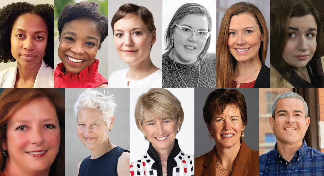 A square collage of head shots: Dionne Custer Edwards, Aja Davis, Kelly Kivland, Helyn Marshall, Tracie McCambridge, Kristin Muenz, Paige Crane, Ann Hamilton, Dr. Kristina Johnson, Gretchen Ritter, and Pete Scantland